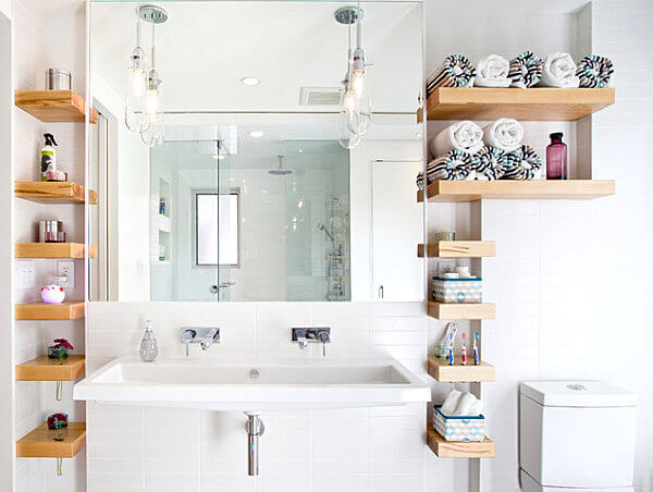 open shelves bathroom