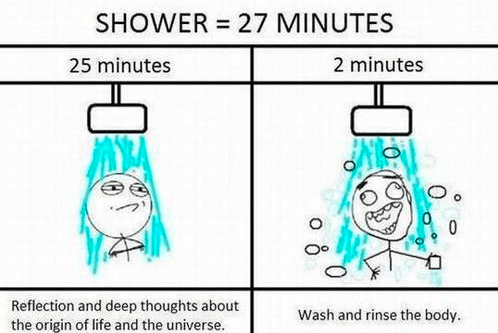 thinking under shower